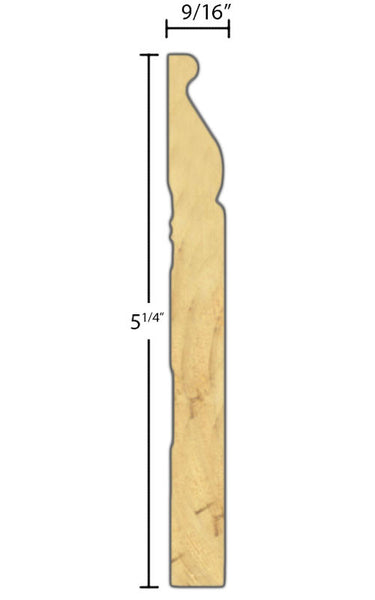 "Side View of Base Molding, product number BA-508-018-1-PF - 9/16"" x 5-1/4"" Primed Finger Joint Base - $1.39/ft sold by American Wood Moldings"