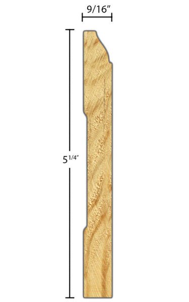 "Side view of base molding, product number BA550 9/16""x5-1/4"" Clear Pine $1.92/ft. sold by American Wood Moldings"