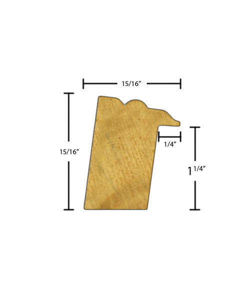 "Side view of backband molding, product number BB115 15/16""x1-1/4"" Finger Joint Pine $0.80/ft. sold by American Wood Moldings"