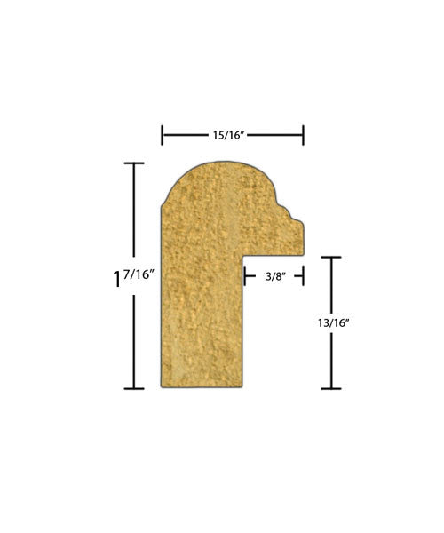 "Side view of backband molding, product number BB123 15/16""x1-7/16"" Poplar $0.92/ft. sold by American Wood Moldings"