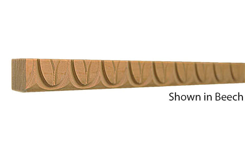 "Profile view of decorative beech carved molding, product number BEDC130 5/8""x5/8"" Beech $2.76/ft. sold by American Wood Moldings"