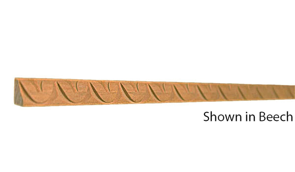 "Profile view of decorative beech carved molding, product number BEDC150 3/8""x7/16"" Beech $1.92/ft. sold by American Wood Moldings"