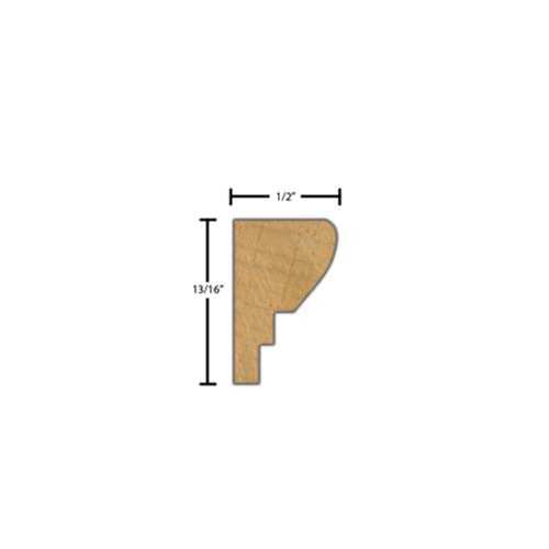 "Side View of Decorative Carved Molding, product number DC-026-016-1-BE - 1/2"" x 13/16"" Beech Decorative Carved Molding - $4.84/ft sold by American Wood Moldings"