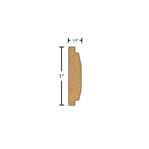"Side View of Decorative Carved Molding, product number DC-100-008-2-BE - 1/4"" x 1"" Beech Decorative Carved Molding - $4.40/ft sold by American Wood Moldings"