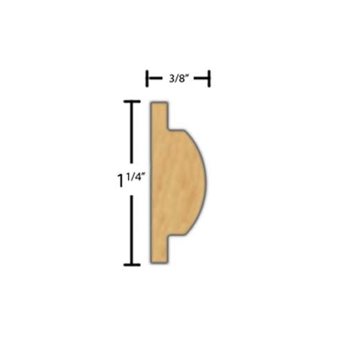 "Side View of Decorative Carved Molding, product number DC-108-012-1-BE - 3/8"" x 1-1/4"" Beech Decorative Carved Molding - $7.28/ft sold by American Wood Moldings"