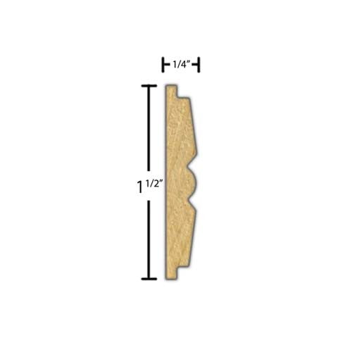 "Side view of decorative beech carved molding, product number BEDC255 1/4""x1-1/2"" Beech $4.64/ft. sold by American Wood Moldings"