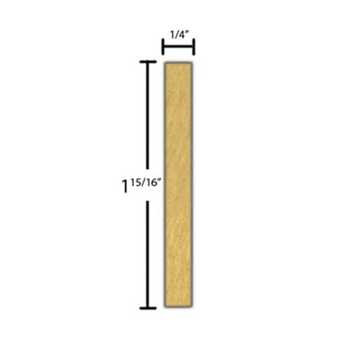 "Side View of Decorative Carved Molding, product number DC-130-008-1-BE - 1/4"" x 1-15/16"" Beech Decorative Carved Molding - $8.52/ft sold by American Wood Moldings"