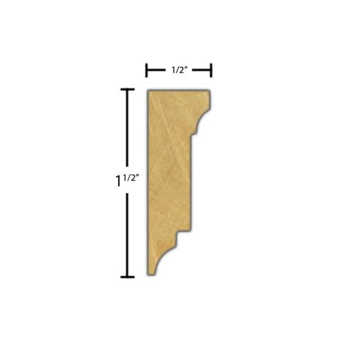 "Side view of decorative beech dentil molding, product number BEDD105 1/2""x1-1/2"" Beech $3.84/ft. sold by American Wood Moldings"