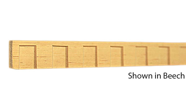 "Profile View of Decorative Dentil Molding, product number DD-024-008-8-BE - 1/4"" x 3/4"" Beech Decorative Dentil Molding - $1.92/ft sold by American Wood Moldings"