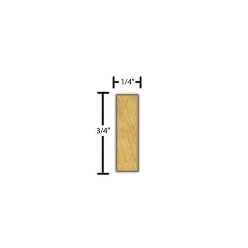 "Side view of decorative beech dentil molding, product number BEDD110 1/4""x3/4"" Beech $1.92/ft. sold by American Wood Moldings"
