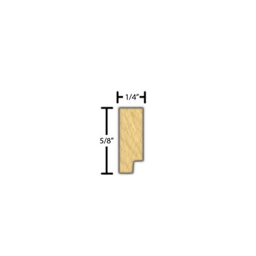 "Side view of decorative beech dentil molding, product number BEDD115 1/4""x5/8"" Beech $1.60/ft. sold by American Wood Moldings"
