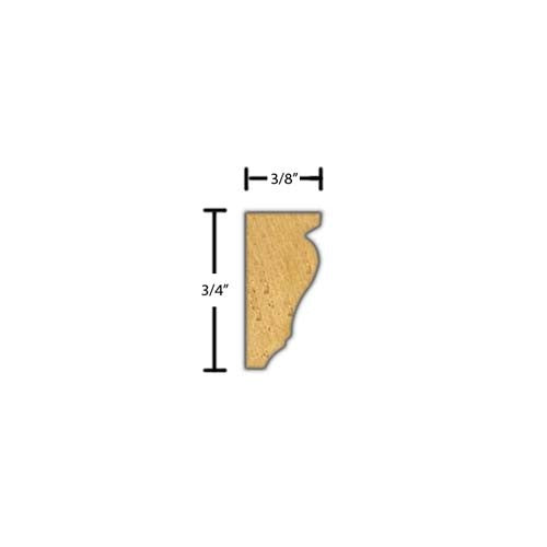 "Side view of decorative beech dentil molding, product number BEDE110 3/8""x3/4"" Beech $1.92/ft. sold by American Wood Moldings"