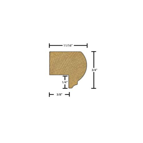 "Side view of decorative beech dentil molding, product number BEDE180 11/16""x3/4"" Beech $1.92/ft. sold by American Wood Moldings"