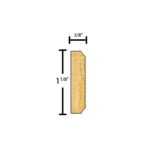 "Side view of decorative beech dentil molding, product number BEDE200 3/8""x1-1/8"" Beech $2.88/ft. sold by American Wood Moldings"