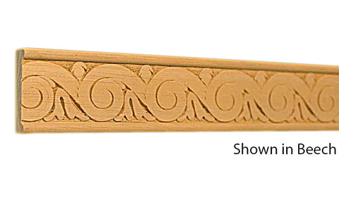"Profile View of Decorative Embossed Molding, product number DE-112-012-3-BE - 3/8"" x 1-3/8"" Beech Decorative Embossed Molding - $3.72/ft sold by American Wood Moldings"