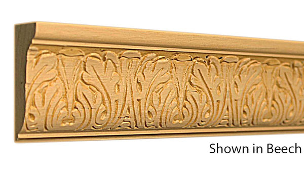 "Profile view of embossed beech dentil molding, product number BEDE285 13/16""x2"" Beech $7.56/ft. sold by American Wood Moldings"