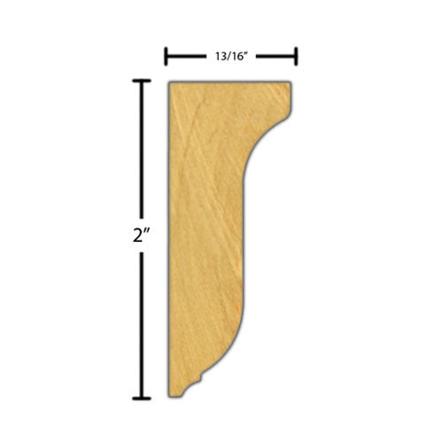 "Side View of Decorative Embossed Molding, product number DE-200-026-1-BE - 13/16"" x 2"" Beech Decorative Embossed Molding - $7.56/ft sold by American Wood Moldings"