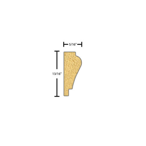 "Side view of decorative beech dentil molding, product number BEDE295 5/16""x13/16"" Beech $1.28/ft. sold by American Wood Moldings"