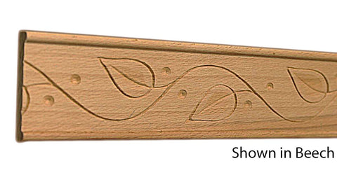 "Profile View of Decorative Embossed Molding, product number DE-124-012-1-BE - 3/8"" x 1-3/4"" Beech Decorative Embossed Molding - $4.48/ft sold by American Wood Moldings"