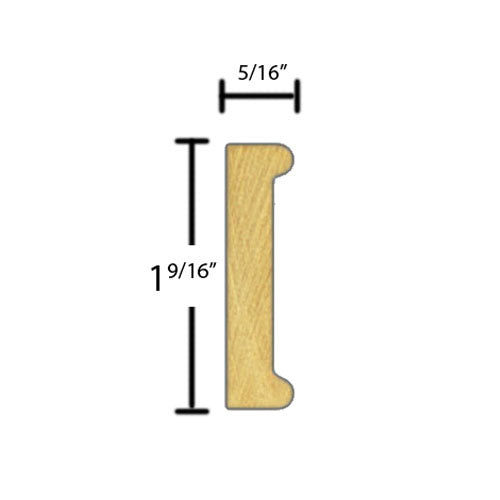 "Side view of decorative beech dentil molding, product number BEDE375 5/16""x1-9/16"" Beech $4.00/ft. sold by American Wood Moldings"