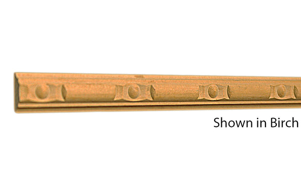 "Profile View of Decorative Carved Molding, product number DC-024-012-5-BI - 3/8"" x 3/4"" Birch Decorative Carved Molding - $3.72/ft sold by American Wood Moldings"