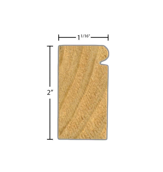 "Side view of brick molding, product number BM210 Beaded Brick Molding 1-1/16""x2"" Primed Finger Joint $1.40/ft. sold by American Wood Moldings"