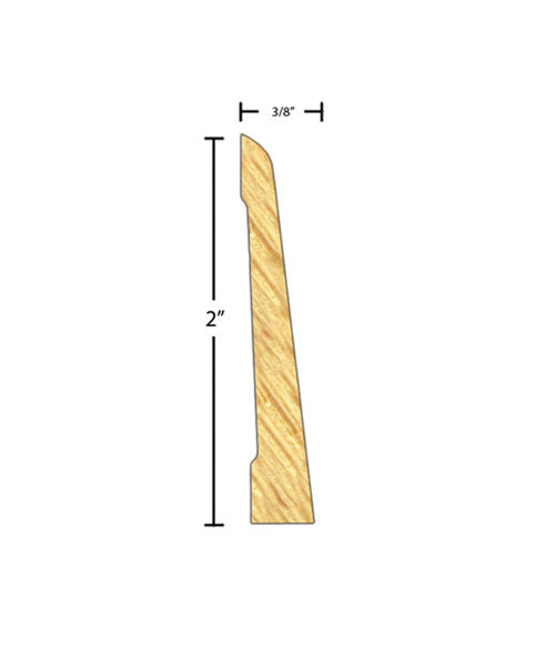 "Side view of casing molding, product number CA202 3/8""x2"" Clear Pine $0.76/ft. sold by American Wood Moldings"