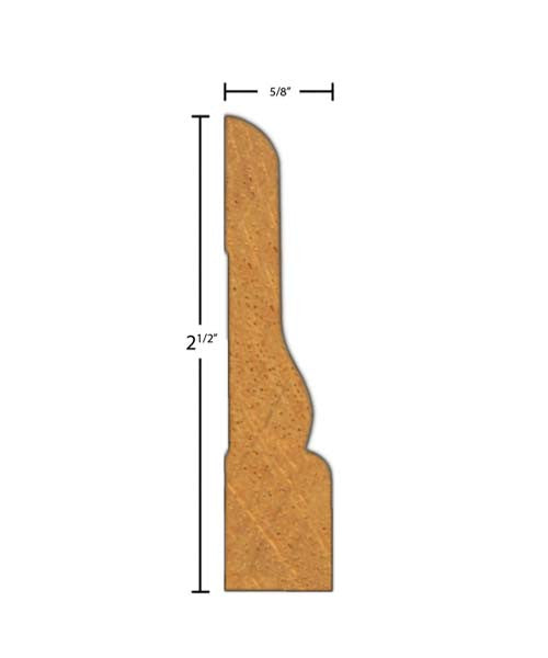 "Side view of casing molding, product number CA262 5/8""x2-1/2"" Brazilian Mahogany $4.80/ft. sold by American Wood Moldings"