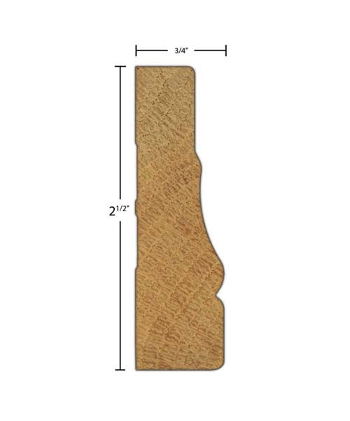 "Side View of Casing Molding, product number CA-216-024-1-PO - 3/4"" x 2-1/2"" Poplar Casing - $1.56/ft sold by American Wood Moldings"