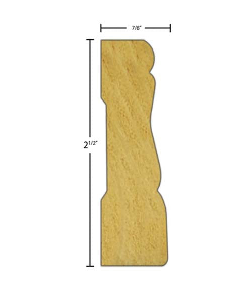 "Side View of Casing Molding, product number CA-216-028-1-PO - 7/8"" x 2-1/2"" Poplar Casing - $1.84/ft sold by American Wood Moldings"