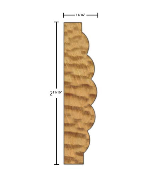 "Side View of Casing Molding, product number CA-222-022-1-CP - 11/16"" x 2-11/16"" Clear Pine Casing - $3.28/ft sold by American Wood Moldings"