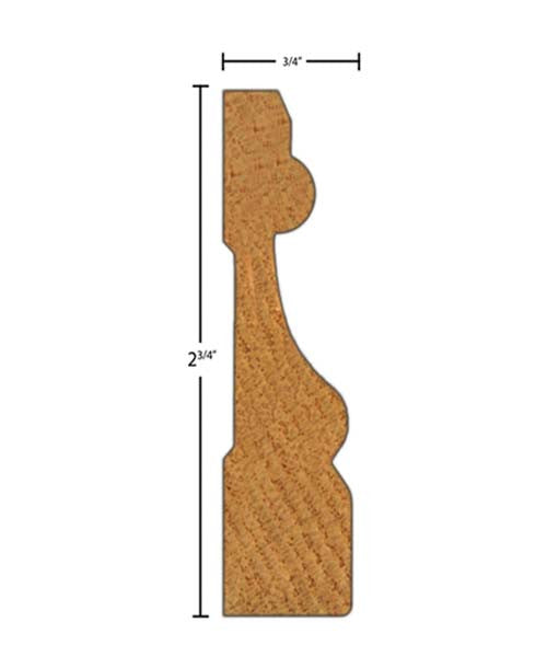 "Side View of Casing Molding, product number CA-224-024-1-PO - 3/4"" x 2-3/4"" Poplar Casing - $1.28/ft sold by American Wood Moldings"