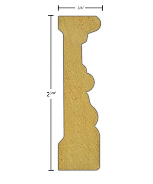 "Side View of Casing Molding, product number CA-224-024-3-RO - 3/4"" x 2-3/4"" Red Oak Casing - $2.12/ft sold by American Wood Moldings"