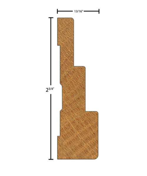 "Side view of casing molding, product number CA299 13/16""x2-3/4"" Poplar $1.88/ft. sold by American Wood Moldings"