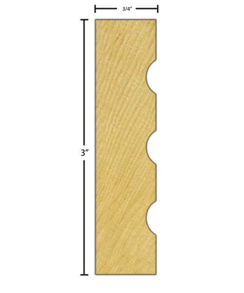 "Side View of Casing Molding, product number CA-300-024-4-MA - 3/4"" x 3"" Maple Casing - $3.04/ft sold by American Wood Moldings"
