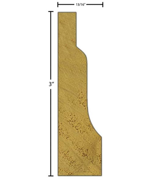 "Side view of casing molding, product number CA321 13/16""x3"" Poplar $2.04/ft. sold by American Wood Moldings"