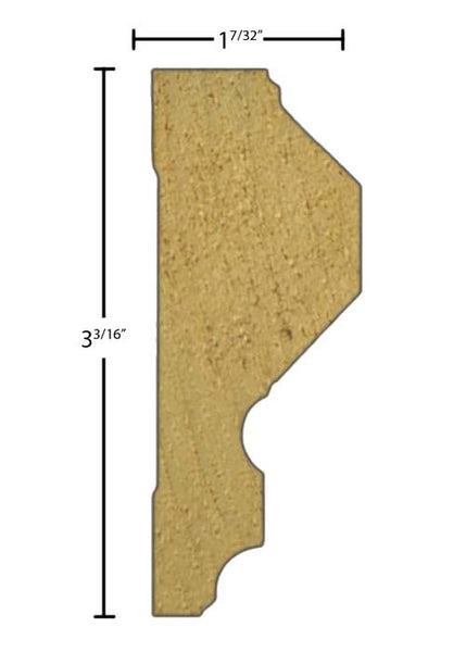 "Side View of Chair Rail Molding, product number CH-306-107-1-PO - 1-7/32"" x 3-3/16"" Poplar Chair Rail - $3.24/ft sold by American Wood Moldings"