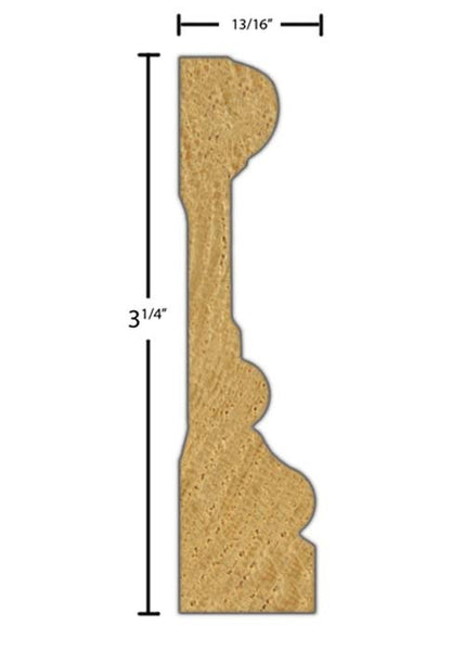 "Side view of casing molding, product number CA356 13/16""x3-1/4"" Red Oak $2.72/ft. sold by American Wood Moldings"