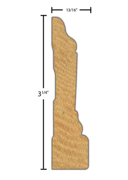 "Side view of casing molding, product number CA358 13/16""x3-1/4"" Red Oak $2.72/ft. sold by American Wood Moldings"