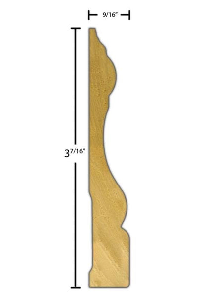 "Side view of casing molding, product number CA366 9/16""x3-7/16"" Poplar $1.60/ft. sold by American Wood Moldings"