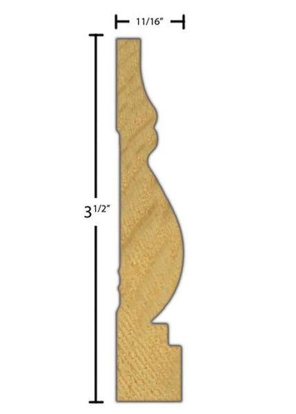 "Side View of Casing Molding, product number CA-316-022-4-PF - 11/16"" x 3-1/2"" Primed Finger Joint Casing - $1.25/ft sold by American Wood Moldings"