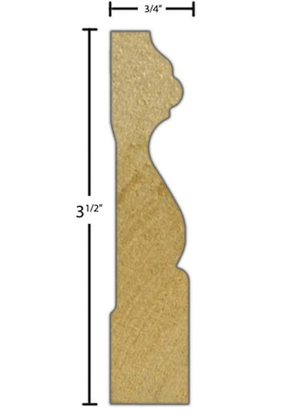 "Side View of Casing Molding, product number CA-316-024-4-PO - 3/4"" x 3-1/2"" Poplar Casing - $1.48/ft sold by American Wood Moldings"