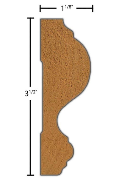 "Side View of Chair Rail Molding, product number CH-316-104-1-PO - 1-1/8"" x 3-1/2"" Poplar Chair Rail - $2.40/ft sold by American Wood Moldings"