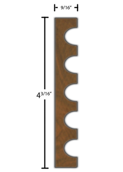 "Side View of Casing Molding, product number CA-406-018-1-WA - 9/16"" x 4-3/16"" Walnut Casing - $12.28/ft sold by American Wood Moldings"