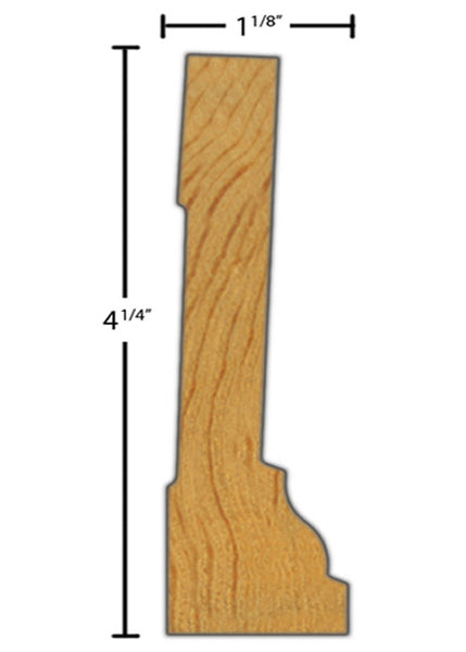 "Side View of Casing Molding, product number CA-408-104-1-CP - 1-1/8"" x 4-1/4"" Clear Pine Casing - $3.56/ft sold by American Wood Moldings"