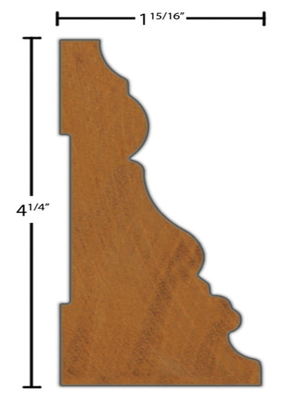 "Side View of Casing Molding, product number CA-408-130-1-HMH - 1-15/16"" x 4-1/4"" Honduras Mahogany Casing - $25.64/ft sold by American Wood Moldings"