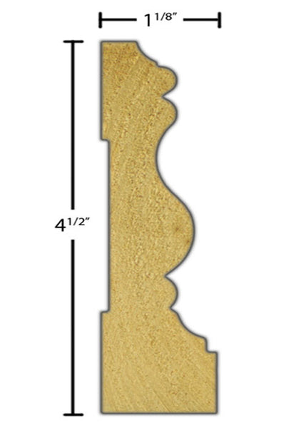 "Side view of casing molding, product number CA480 1-1/8""x4-1/2"" Poplar $4.24/ft. sold by American Wood Moldings"