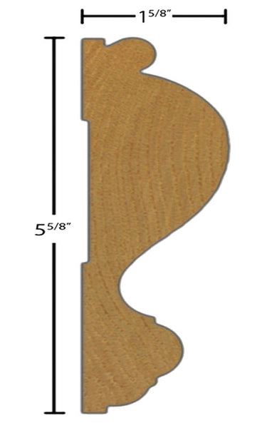 "Side view of casing molding, product number CA590 1-5/8""x5-5/8"" Clear Pine $6.80/ft. sold by American Wood Moldings"