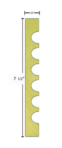 "Side view of casing molding, product number CA750 3/4""x7-1/2"" Poplar $4.56/ft. sold by American Wood Moldings"