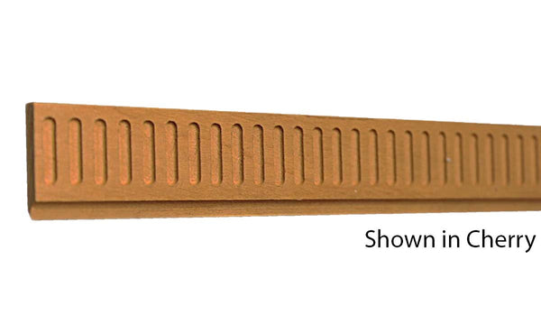 "Profile view of decorative cherry carved molding, product number CHDC120 3/16""x1"" Cherry $4.96/ft. sold by American Wood Moldings"